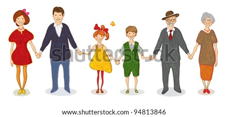 Illustration with a big happy family on white background - stock vector