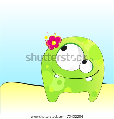 illustration with a green funny cartoon monster