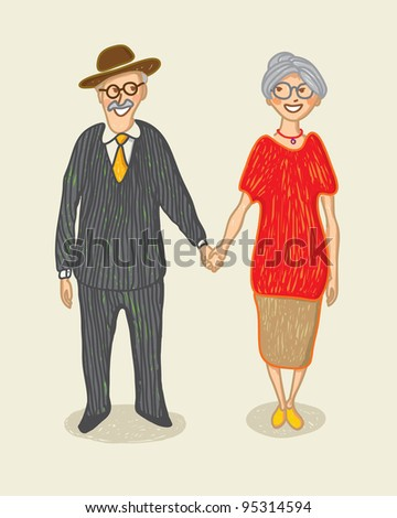 Illustration with a hand drawn grandmother and grandfather - stock vector