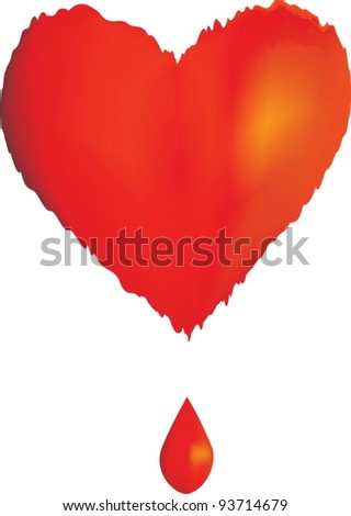 Illustration with a red heart and a drop of blood - stock vector