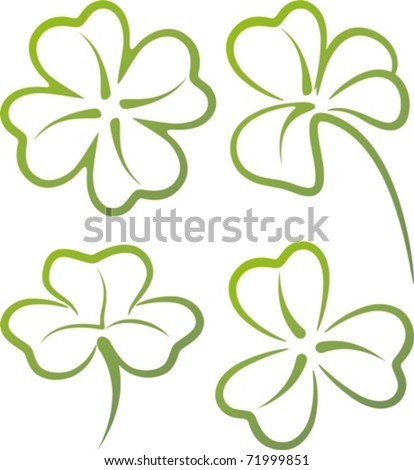 illustration with a set of clover leaves - stock vector