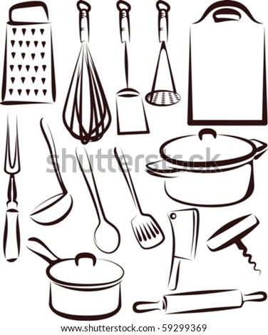 Illustration with a set of kitchen utensil - stock vector