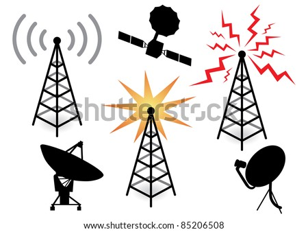 illustration with a set of radio devices - stock vector