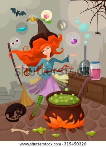 illustration with a witch - stock vector