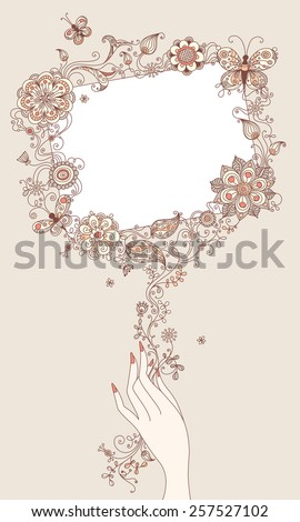 Illustration with abstract floral elements and blank sign for your text.  - stock vector