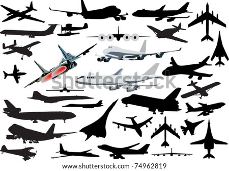 illustration with airplanes silhouettes collection isolated on white background