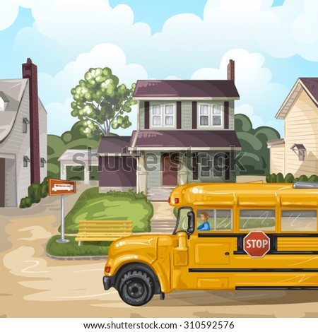 Illustration with american neighborhood and school bus  - stock vector