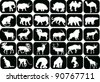 illustration with animals silhouettes collection - stock vector