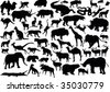 illustration with animals silhouettes collection isolated on white background - stock vector