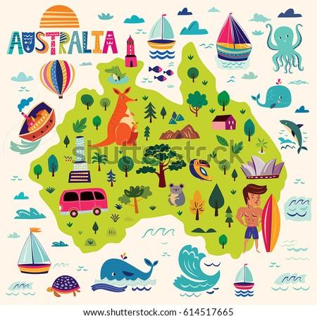 Illustration Australia Symbols Map Australia Stock Vector 614517665