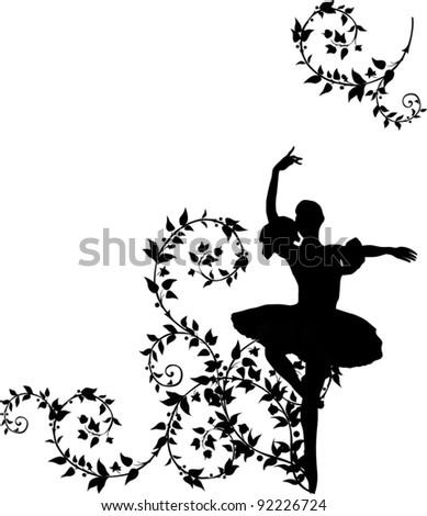 illustration with ballet dancer in plant curls - stock vector
