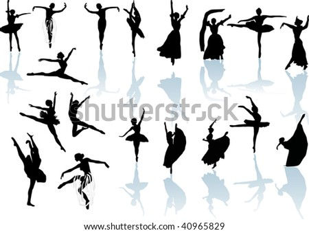 illustration with ballet dancer silhouettes