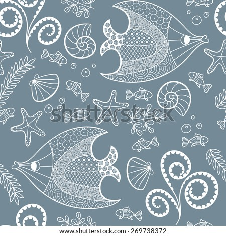 Illustration with beautiful fish, starfish, shells and algae.Seamless pattern with hand drawn sea creatures. Vector illustration. - stock vector