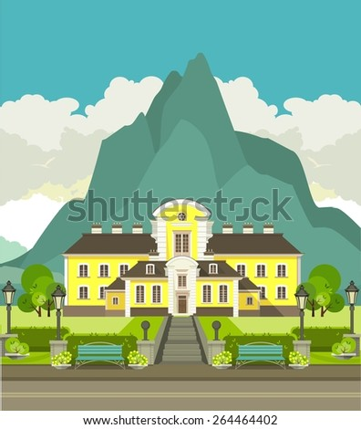 illustration with beautiful mountain area at the foot of the mountain is a beautiful hotel to relax - stock vector