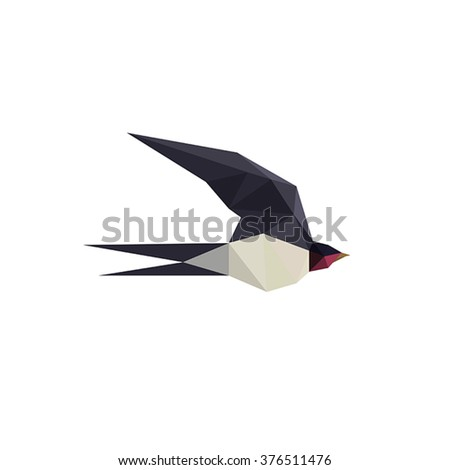 Illustration with beautiful origami swallow bird isolated on white background