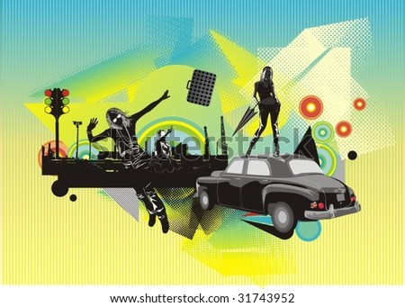 illustration with beauty silhouettes vintage car,and abstract vector ornaments - stock vector