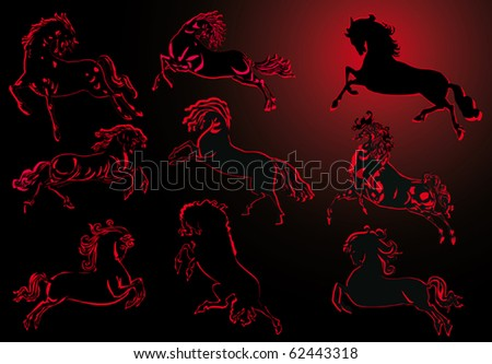 illustration with black and red horse silhouettes collection