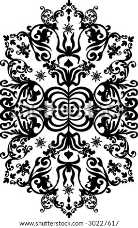 illustration with black and white curled ornament