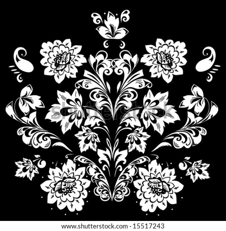 illustration with black and white flower ornament - stock vector