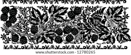 Illustration with black floral decoration on white background