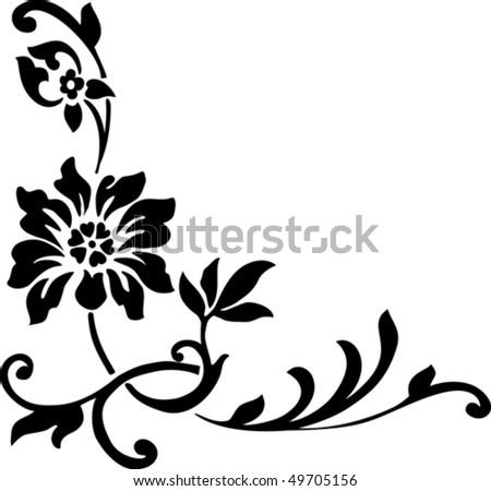 illustration with black flower on white background - stock vector