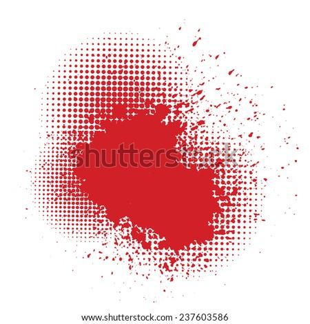 illustration  with  blood splatter  on white background - stock vector