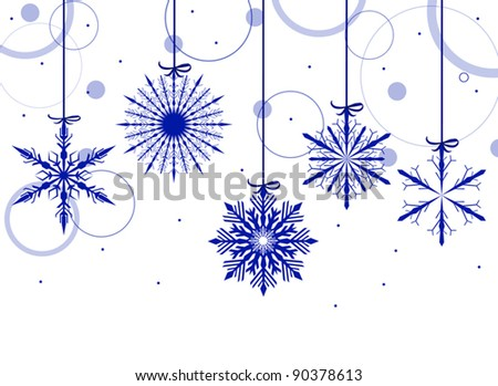illustration with blue snowflakes on white background - stock vector