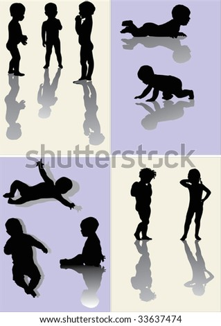 illustration with body silhouettes collection isolated on light backgrounds