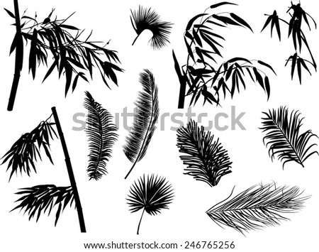 illustration with branches silhouettes isolated on white background - stock vector