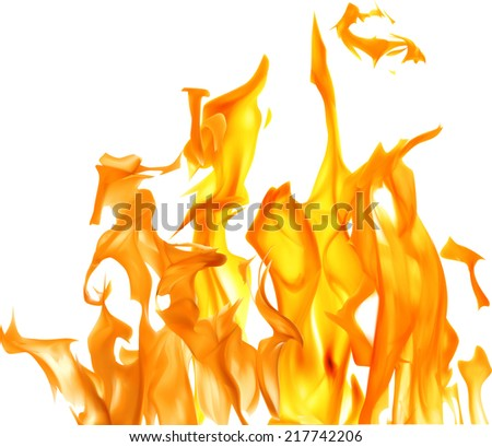 illustration with bright flame on white background - stock vector