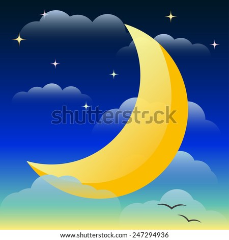 Illustration with bright yellow lighting moon floating in the night sky among the clouds and stars for use in design for card, invitation, poster, banner, placard or billboard cover - stock vector