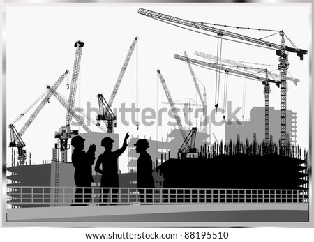 illustration with builders and crane silhouettes - stock vector