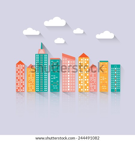Illustration with buildings in flat design style vector - stock vector