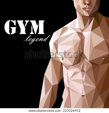 illustration with caucasian or asian man muscle body in low-polygonal style. gym advertise flyer or sport (fitness) poster - stock vector