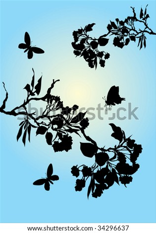 illustration with cherry tree flowers and butterflies silhouette on blue background - stock vector
