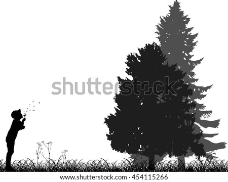 illustration with child blowing on dandelion near high trees isolated on white background