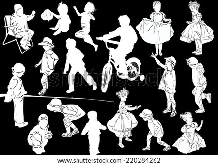 illustration with child silhouettes collection isolated on black background