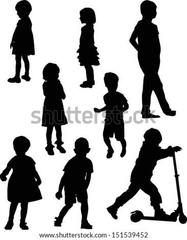 illustration with child silhouettes collection isolated on white background - stock vector