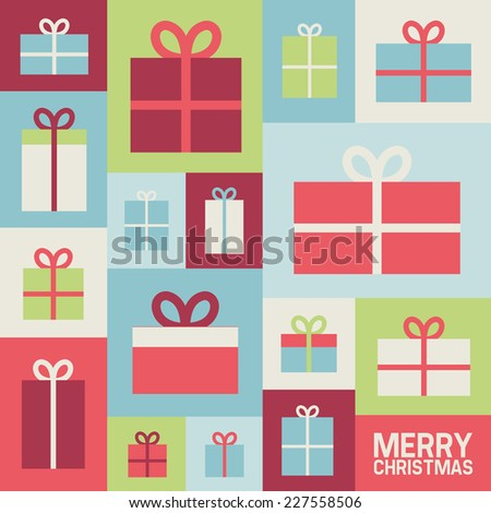 Illustration with Christmas gifts, vector background, flat style