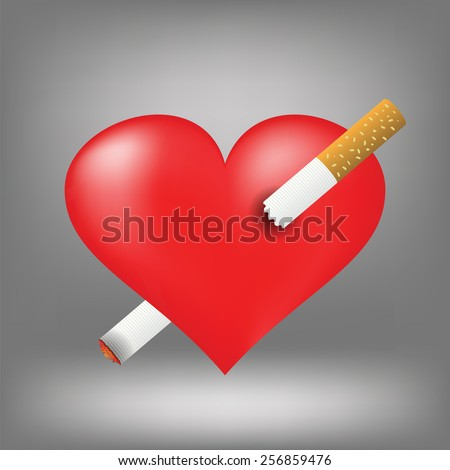 Illustration  with cigarette and heart on grey background. Graphic Design Useful For Your Design.Red heart pierced by burning cigarette. - stock vector