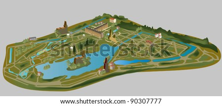 illustration with city model - stock vector