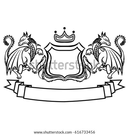 Coat Arms Logo Template Unicorns Shield Stock Vector