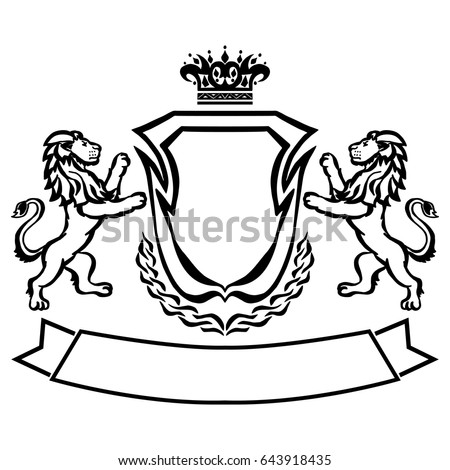 Illustration Coat Arms Lions Tattoo Design Element Stock Vector