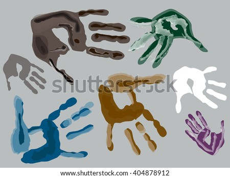 illustration with color hand prints isolated on grey background