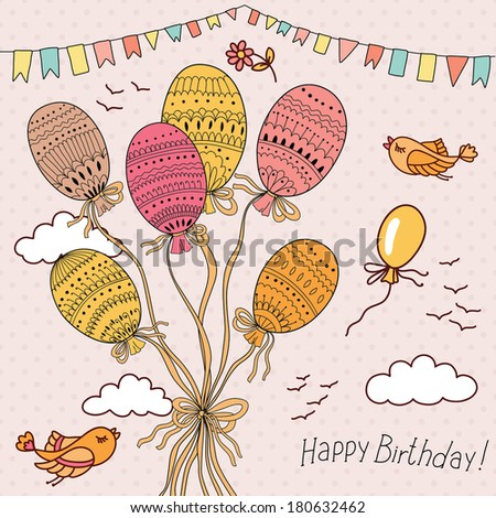 illustration with colorful flying balloons. Happy Birthday card!