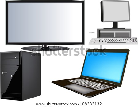 illustration with computers isolated on white background
