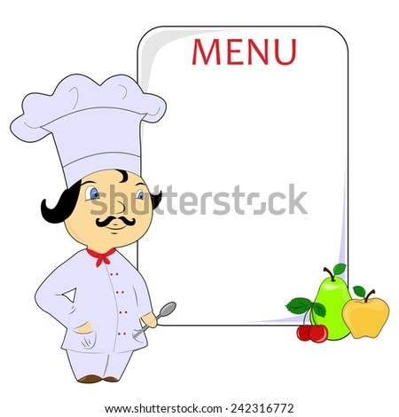 illustration with cook and menu.