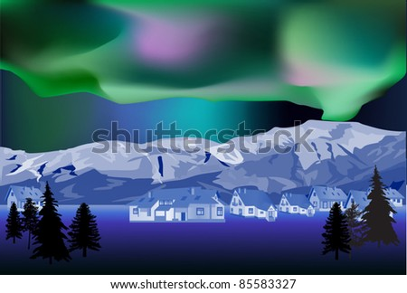 illustration with cottages near winter mountains - stock vector