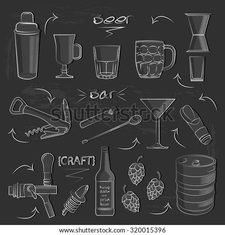 Illustration with craft beer on the dark background. Illustration of bar accessories . Bar set. Crafting a beer and wine glasses .