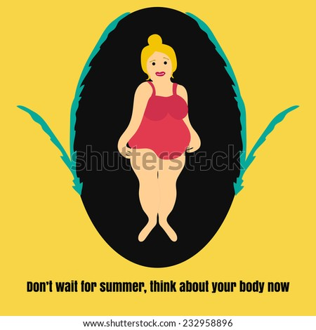 Illustration with cute fat woman - stock vector